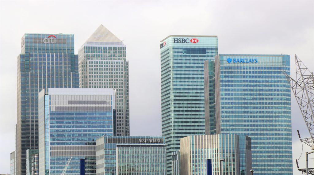 skyline of bank buildings