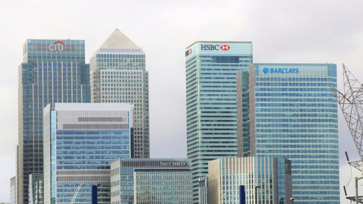 skyline of bank buildings
