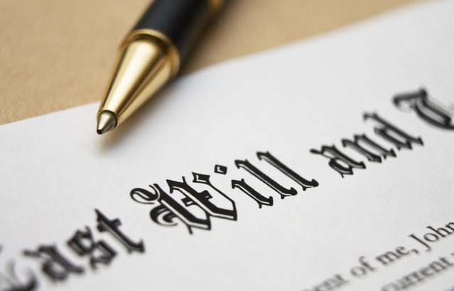 close up image of last will and testament